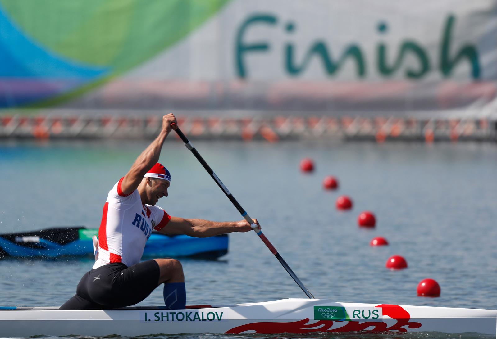 Россиянин Илья Штокалов на километровой дистанции в гребле на каноэ