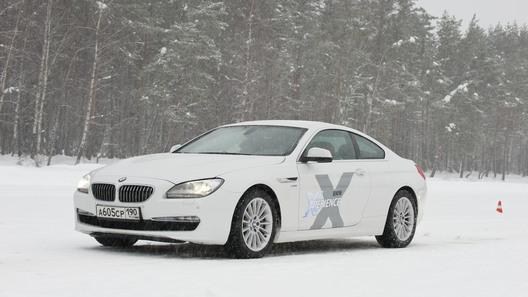 Скользим по льду на полном приводе купе BMW 6 серии
