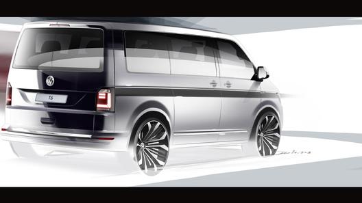 Volkswagen показал первый эскиз нового фургона Transporter