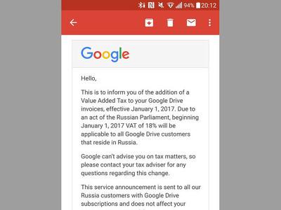 Google сообщила россиянам о повышении цен на 18%