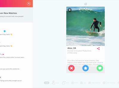 Создатели приложения для знакомств Tinder запустили веб-версию