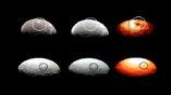 Снимки двух пятен Цереры в видимом и инфракрасном диапазоне. На тепловом изображении видно, что пятно номер один выглядит тёмным из-за более низкой температуры (справа вверху), в то время как пятно номер пять сливается с фоном (справа внизу)