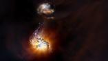 Художественное изображение сталкивающихся галактик.