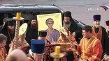 В сопровождении автомобильного кортежа ковчег доставили в храм Христа Спасителя