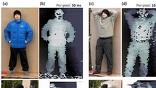 Трёхмерные изображения манекена и человека с 325 метров. Из-за того, что инфракрасный свет плохо отражается от человеческой кожи, лицо на снимке кажется чёрным. Таким образом, почти раствориться на фоне можно, полностью раздевшись