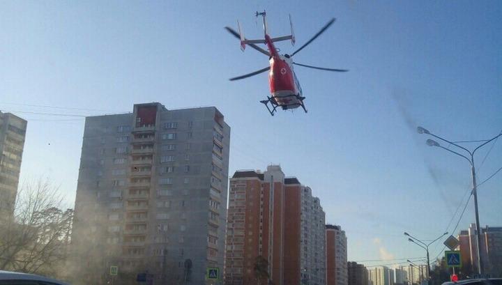 Вертолет эвакуировал пострадавшую в ДТП с участием московской маршрутки