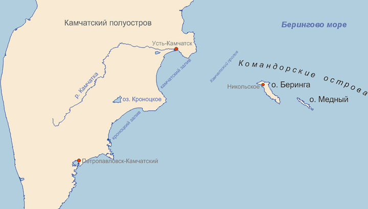 Вблизи Командорских островов произошло землетрясение магнитудой 6,4