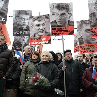 В центре Москвы завершается шествие в память о Борисе Немцове