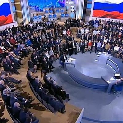 Путин отреагирует на вопросы, показанные на экранах в студии