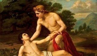 """А.А.Киселев  """"Умирающий на руках Аполлона Гиацинт"""" 1884 г."""