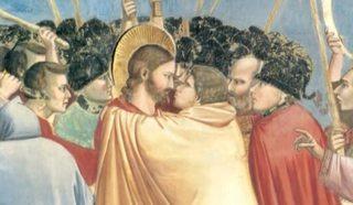 """Джотто. Поцелуй Иуды. 1303-1305 гг. Фрагмент фрески в Капелле Скровеньи в Падуе, Италия. """"Поцелуй Иуды""""."""
