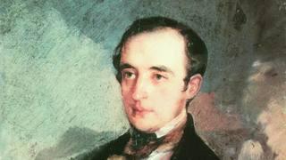 Портрет неизвестного в синем сюртуке (В.Ф. Одоевский) кисти Ивана Кузьмича Макарова, 1840 г. / Public domain