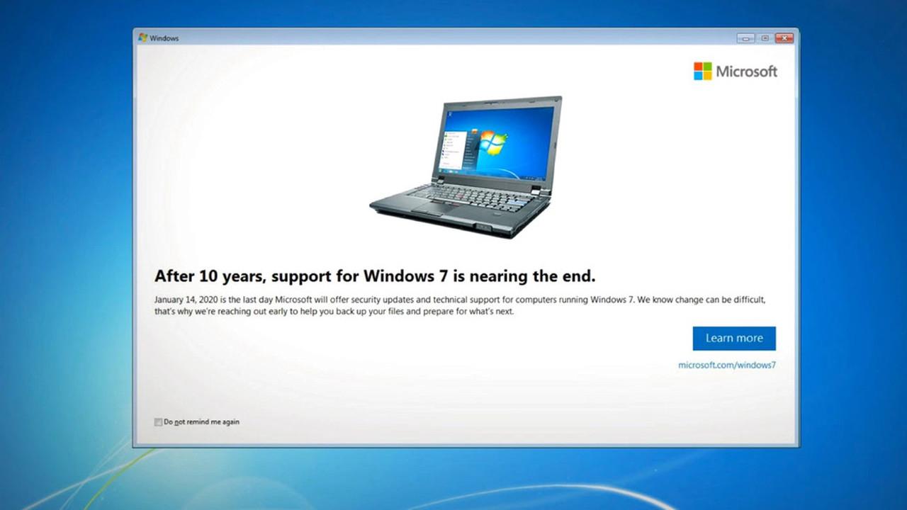 Пользователям Windows 7 напомнят о дате, когда ОС станет небезопасна