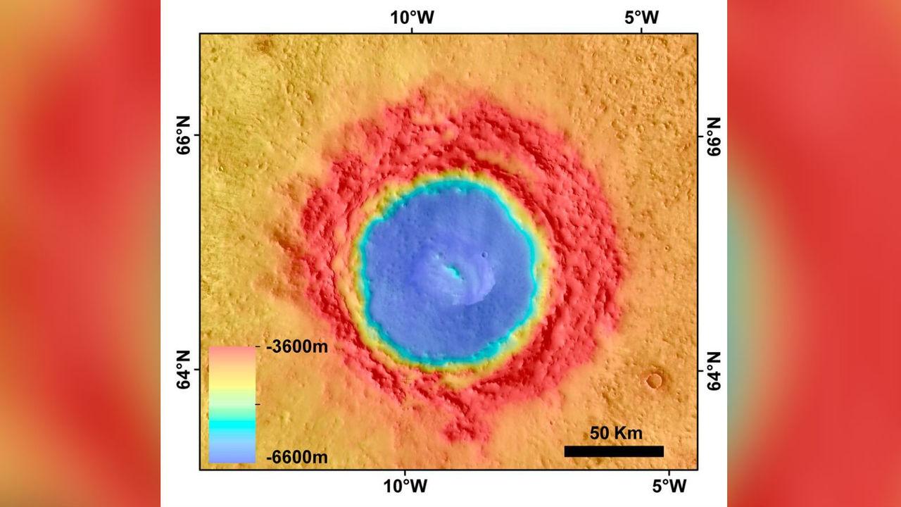 На Марсе обнаружен след удара астероида, породившего мегацунами