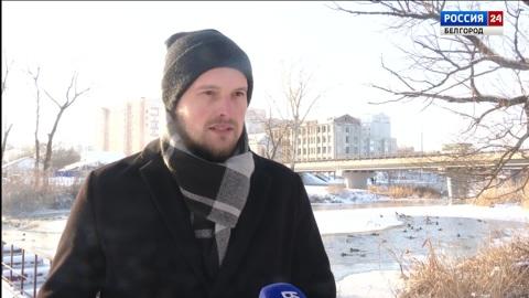 Старооскольский журналист спас провалившуюся под лед собаку