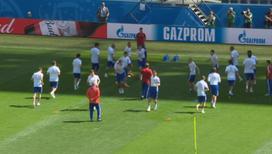 Сборная России провела последнюю тренировку перед матчем с Египтом