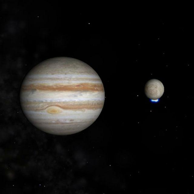 Юпитер и его спутник Европа с ярким УФ-сигналом от возможного выброса водяного фонтана в области южного полюса