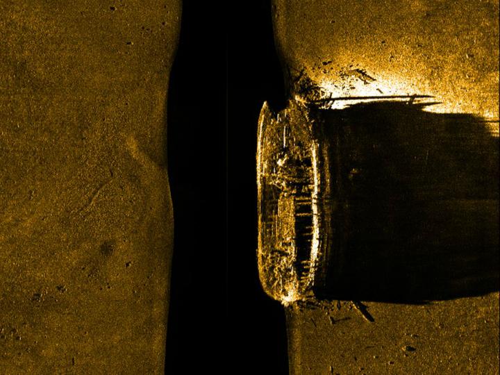 Очертания корабля, обнаруженные сонарами