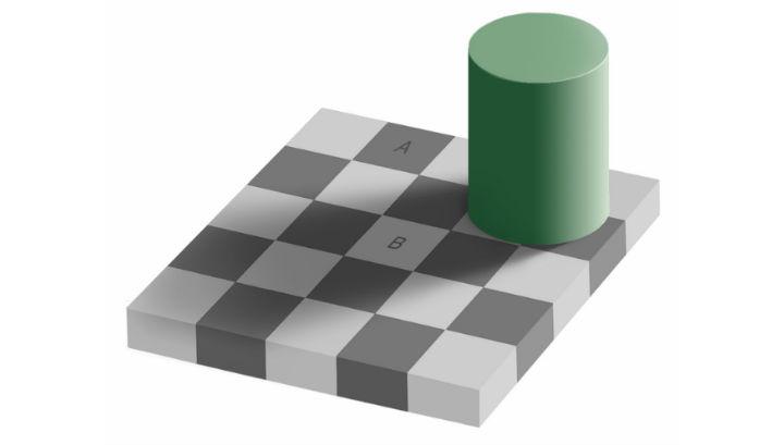 """Иллюзия с тенью на шахматной доске: клетки """"А"""" и """"В"""" кажутся разного цвета, но на самом деле они абсолютно одинаковые"""