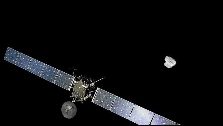"""Художественное изображение с использованием снимка кометы, сделанного аппаратом """"Розетта"""" 2 августа 2014 года с расстояния 500 км"""