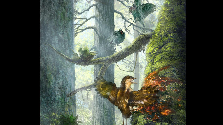 Художественное изображение представителей энанциорнисовых птиц.