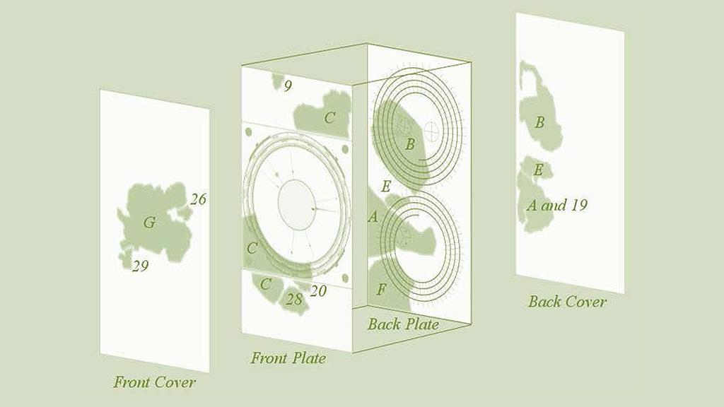 Схема сохранившихся и отсутствующих частей Антикитерского механизма. Иллюстрация: The Antikythera Mechanism Research Project