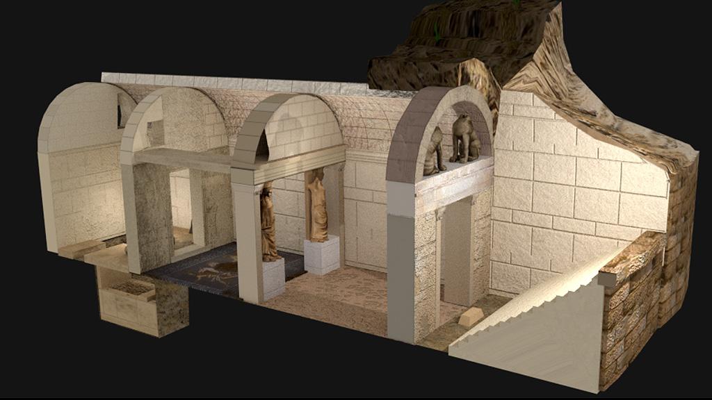 Трехмерная реконструкция внутреннего устройства гробницы в Амфиполисе. Изображение с сайта amfipolis.com