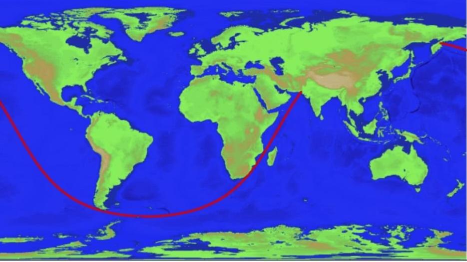 Самый длинный морской путь по прямой линии.