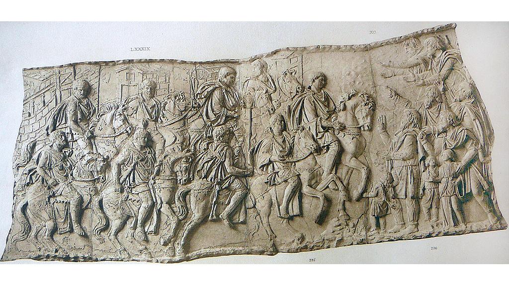 Деталь колонны Траяна. Личная конная стража сопровождает императора Траяна во время кампании в Дакии. Фото: Wikimedia Commons