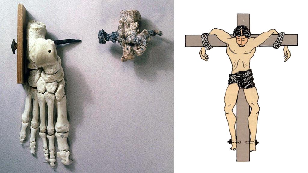 Копия пяточной кости мужчины из Гив'ат ХаМивтар и реконструкция его распятия по Зиасу и Секелесу (1985). Изображение: Музей Израиля