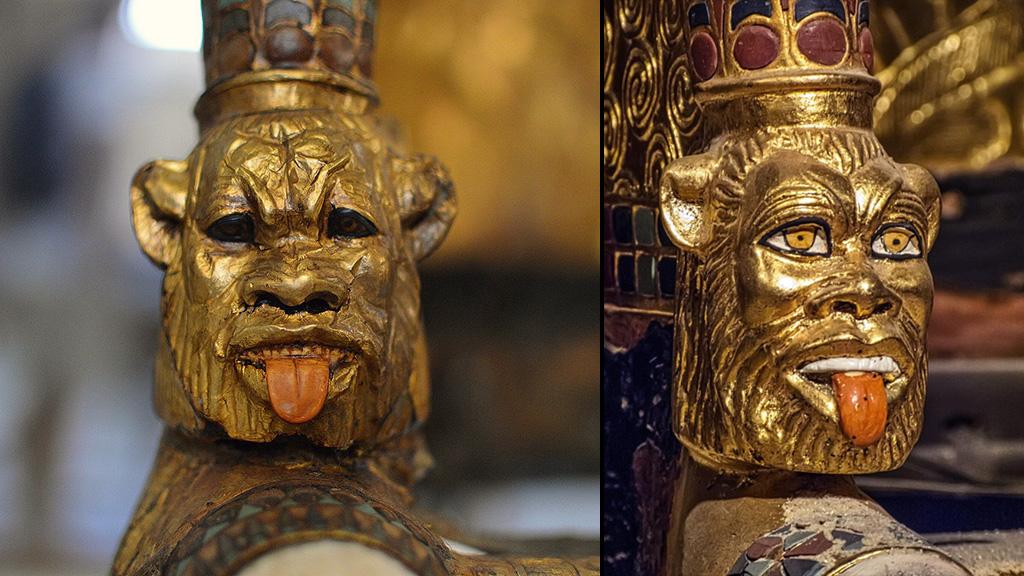 Фигурки Беса – детали колесницы из гробницы Тутанхамона. Фото: Dr Chris Naunton, Twitter / mharrsch, Flickriver