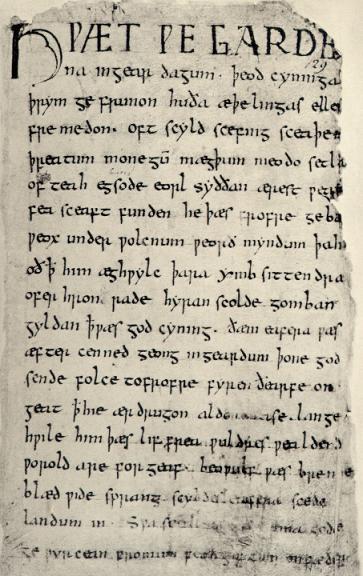 Первая страница рукописи Беовульфа, XI век.