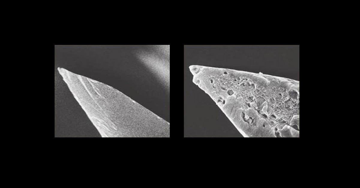 Слева – обсидиановое лезвие, справа – лезвие стального хирургического скальпеля. Фото из книги Anthropology: The Human Challenge