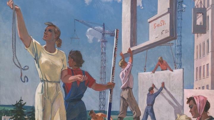 Александр Дейнека. Эскиз мозаики «Мирные стройки». 1959 - 1960