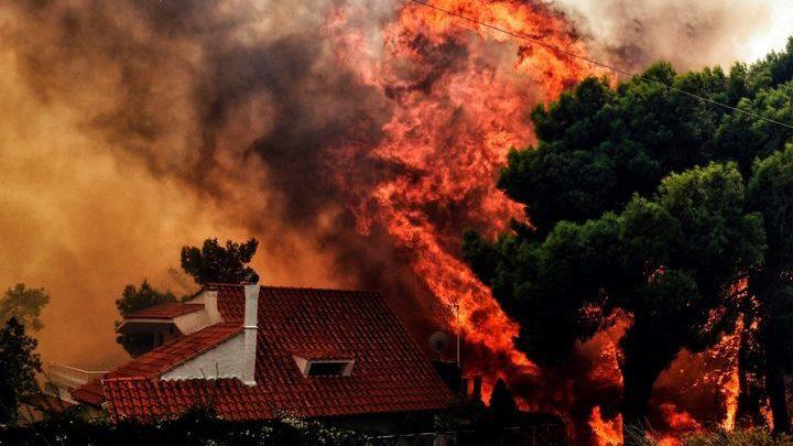 Крупный пожар тушат в пригороде Афин