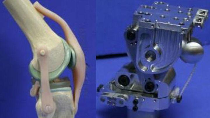 Роботы оснащены детально проработанным скелетом, а также синтетическими суставами и связками. На фото представлено колено.