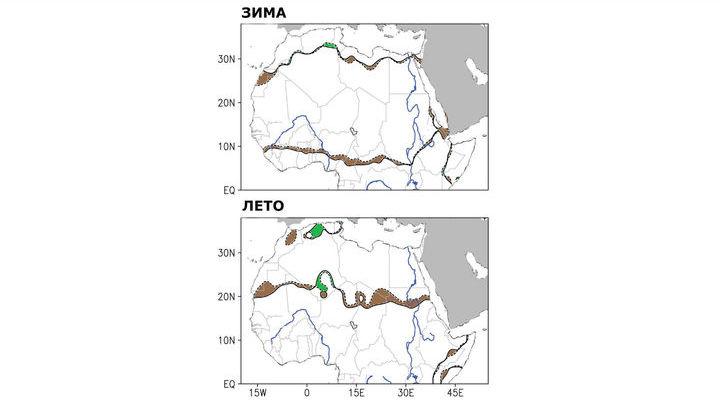 Изменение границ пустыни в период 1920-2-13 годов, в зависимости от сезонов. Пунктирные линии обозначают границу пустыни 1920 года, сплошная линия показывает её в 2013 году. Коричневые затемнённые области указывают расширение Сахары, зелёные √ на сужение.