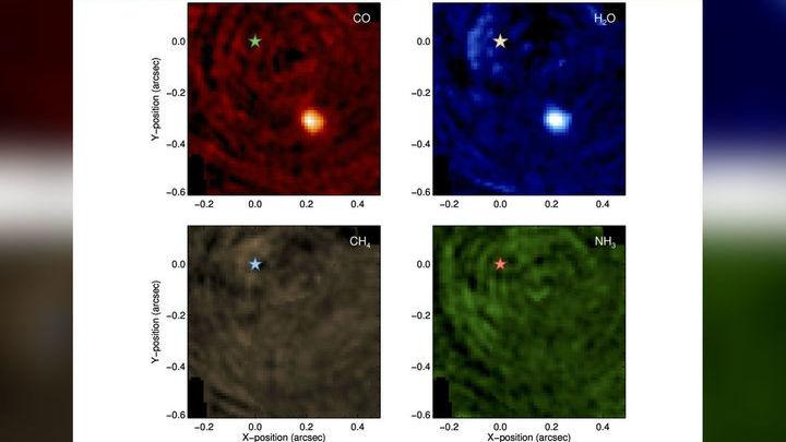 Планета (яркое пятно) отчётливо видна в линиях воды и угарного газа, но не заметна в линиях метана и аммиака. Родительская звезда, положение которой обозначено звёздочкой, не видна во всех четырёх случаях. По осям отложены координаты в угловых секундах.