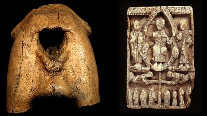 Верхняя челюстная кость моржа после удаления клыков (слева) и церковная доска из моржовой кости, датированная 10-11 веками (справа).