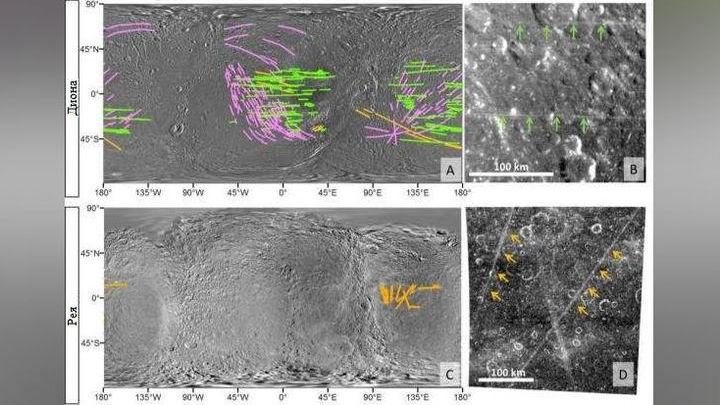 Надёжно подтверждённые полосы (зелёный), гипотетические полосы (оранжевый) и кратерные лучи (розовый) на Дионе и Рее.