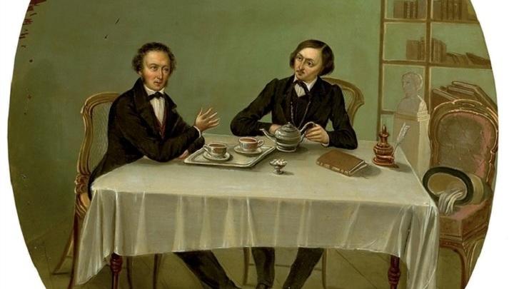 Гоголь и Пушкин, картина художника Николая Михайловича Алексеева
