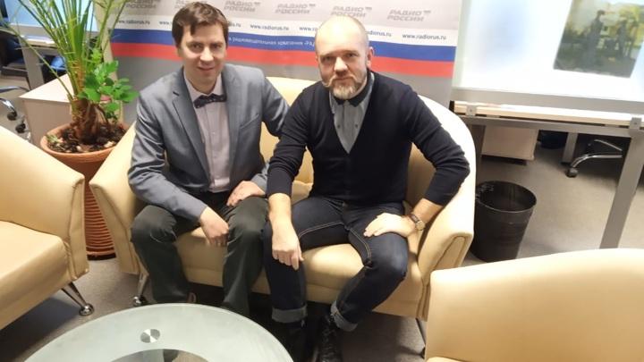 """Андрей Можайский и Дмитрий Конаныхин в студии """"Радио России"""""""