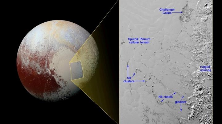 На Плутоне обнаружены загадочные плавающие холмы