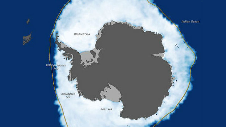 Данные на 26 сентября 2012 года. Ледники покрывают большую часть Южного океана