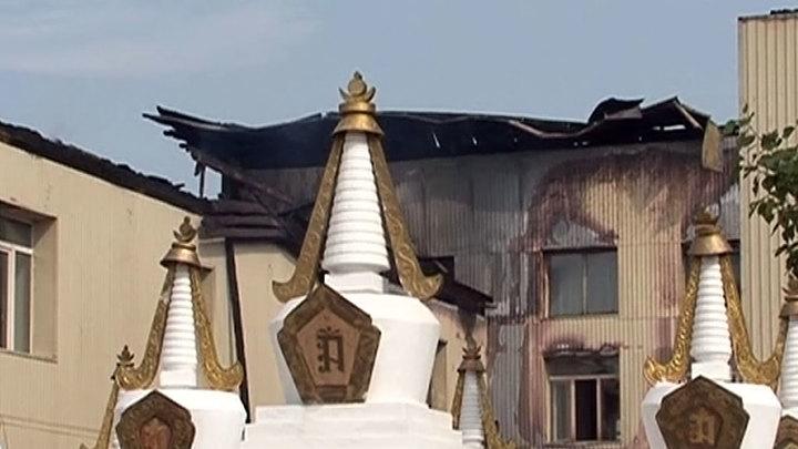 Буддийский храм сгорел при пожаре в Бурятии