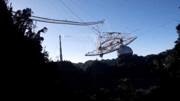 "Момент обрушения телескопа ""Аресибо"" попал на видео"