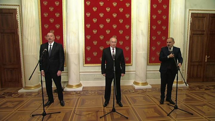 В Кремле завершились переговоры лидеров РФ, Азербайджана и Армении