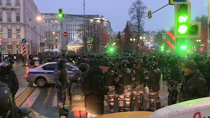 Несогласованная акция в Москве закончилась, центр города опустел