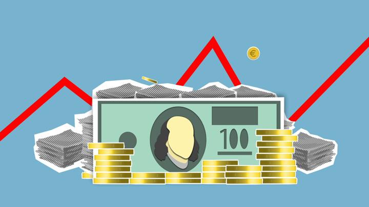 Курс евро опустился ниже87 рублей