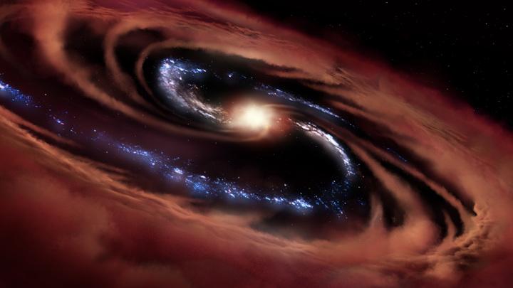 Падающее вещество превращает чёрные дыры в ярчайшие источники излучения.